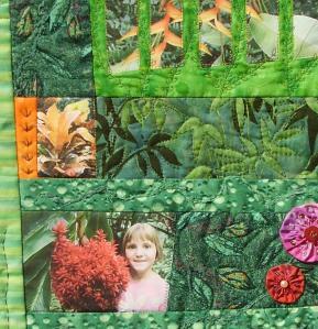 """Art quilt """"Hawaian garden"""" son impresión de fotos sobre tela, France Buyle."""