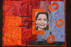 Art quilt retrato con foto impresa en tela.