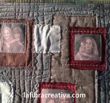 quilt retrato de patchwork con fotos impresas sobretela