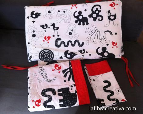 conjunto de cuna protecto colcha funda almohada en blanco negro rojo