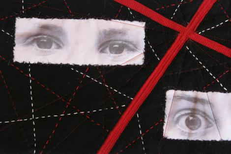 detail mini-quilt EQA Youth at the Crossroads by France Buyle