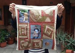 Cojin de patchwork con fotos